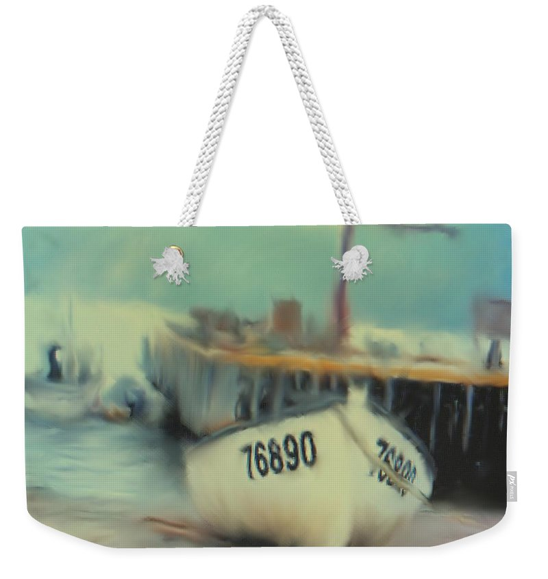 Newfoundland Weekender Tote Bag featuring the digital art Newfoundland Fishing Port Impressions by Ian MacDonald