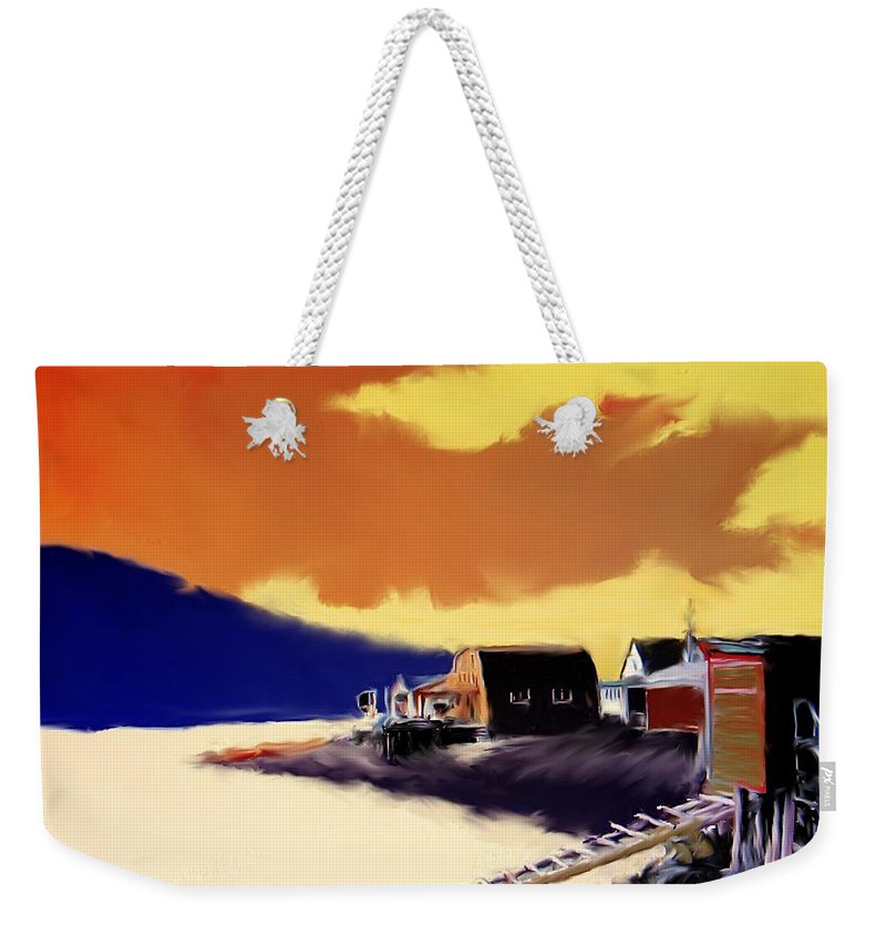 Newfoundland Weekender Tote Bag featuring the photograph Newfoundland Fishing Shacks by Ian MacDonald