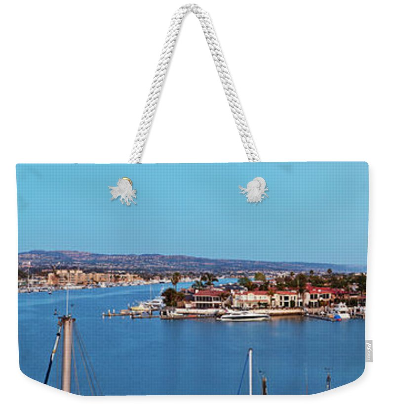 Newport Beach Weekender Tote Bag featuring the photograph Newport Beach Harbor At Dusk by Kelley King