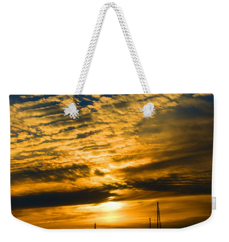 Newport Weekender Tote Bag featuring the photograph Newport Sunset by Ray Konopaske