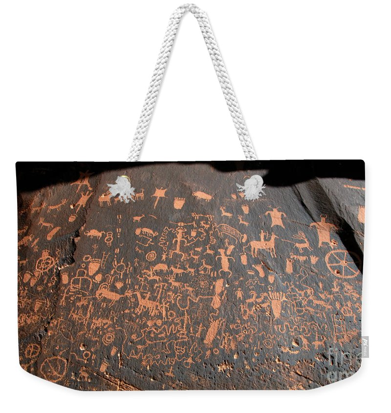 Newspaper Rock State Park Utah Weekender Tote Bag featuring the photograph Newspaper Rock by David Lee Thompson