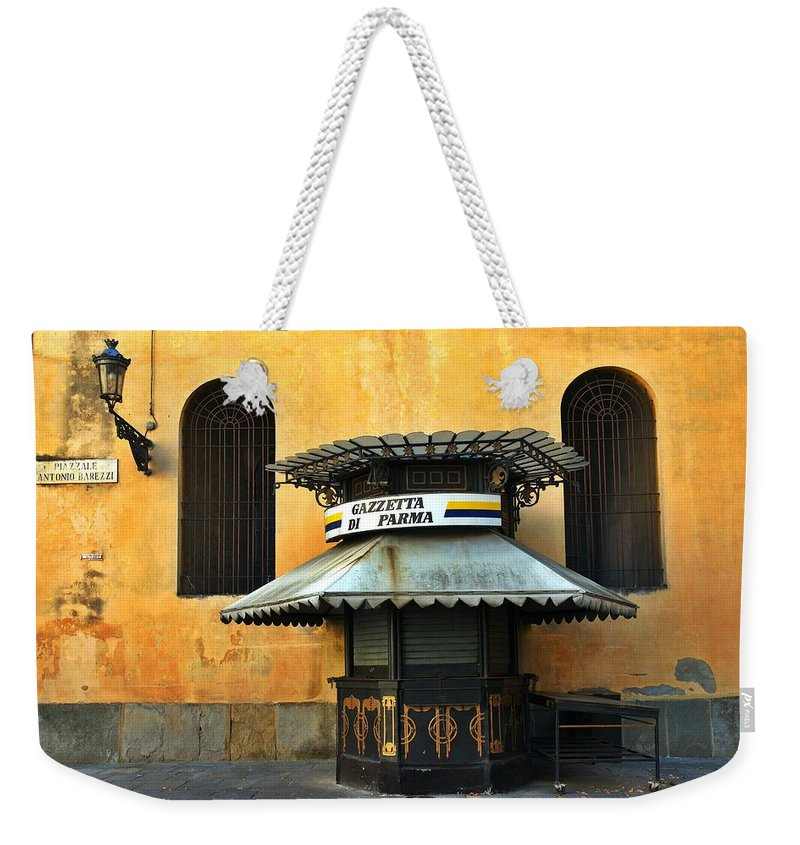 Architecture Weekender Tote Bag featuring the photograph Newsstand - Parma - Italy by Silvia Ganora