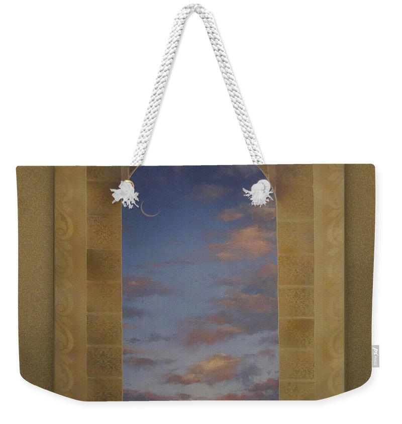 Smiling Moon Weekender Tote Bag featuring the mixed media Next Chapter by Richard Laeton