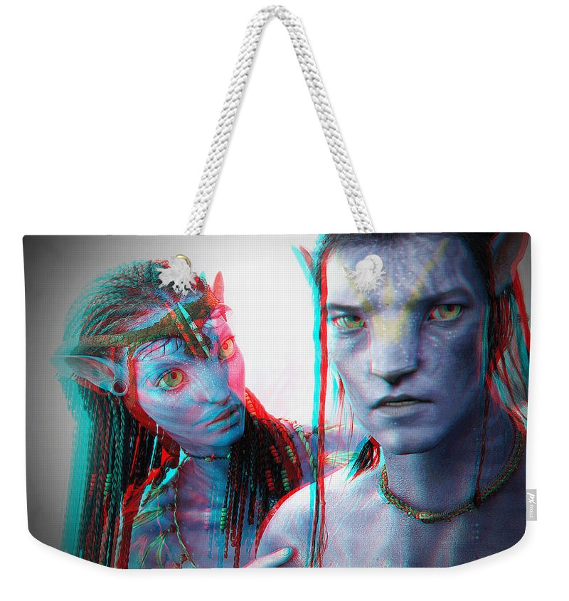 3d Weekender Tote Bag featuring the photograph Neytiri And Jake Sully - Use Red-cyan 3d Glasses by Brian Wallace