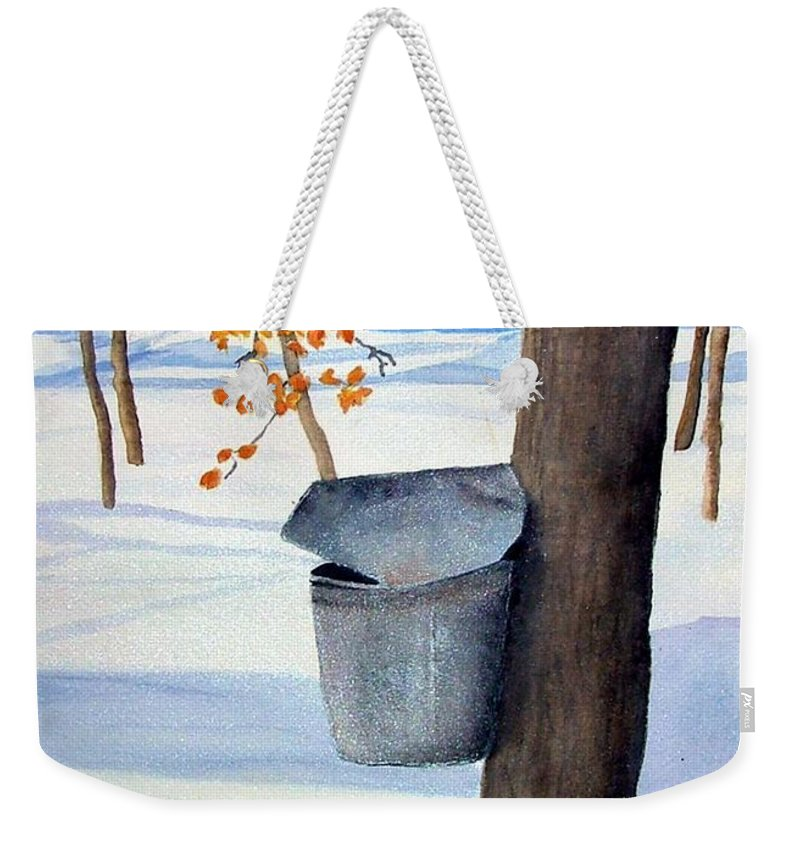 Sap Bucket. Maple Sugaring Weekender Tote Bag featuring the painting Nh Goldmine by Sharon E Allen