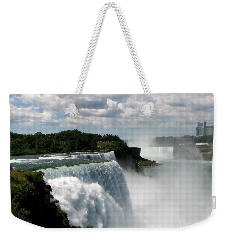 Niagara Falls Weekender Tote Bag featuring the photograph Niagara Falls American And Canadian Horseshoe Falls by Rose Santuci-Sofranko