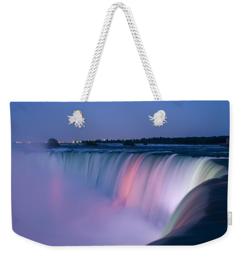 3scape Photos Weekender Tote Bag featuring the photograph Niagara Falls at Dusk by Adam Romanowicz