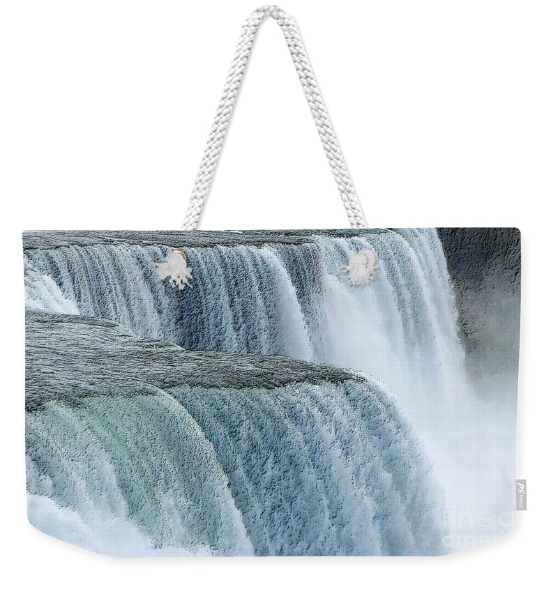 Charcoal Weekender Tote Bag featuring the photograph Niagara Falls Closeup Charcoal Effect by Rose Santuci-Sofranko