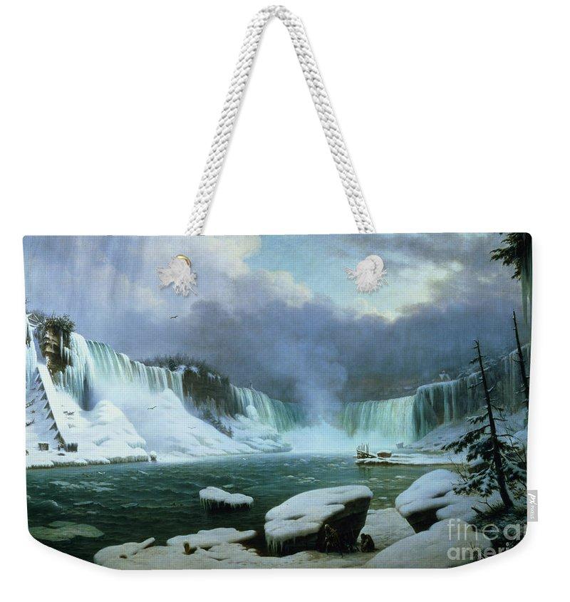 Niagara Falls (oil On Canvas) By Hippolyte Victor Valentin Sebron (1801-79) Weekender Tote Bag featuring the painting Niagara Falls by Hippolyte Victor Valentin Sebron