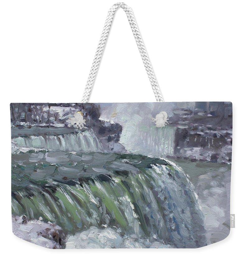 Niagara Falls Weekender Tote Bag featuring the painting Niagara Falls In Winter by Ylli Haruni