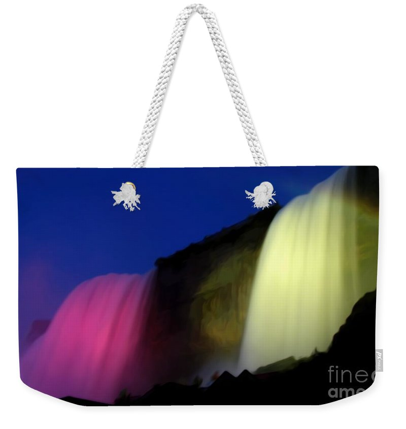Bridal Veil Falls Weekender Tote Bag featuring the photograph Niagara Falls Nightly Illumination by Rose Santuci-Sofranko