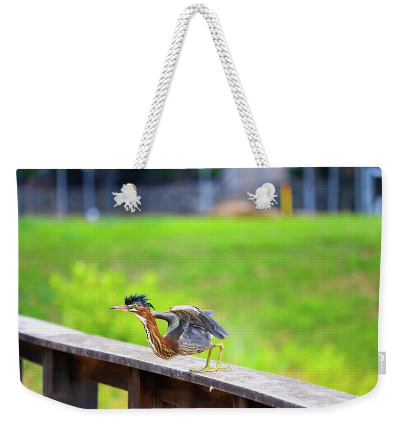 Weekender Tote Bag featuring the photograph Nice Mohawk Jump by Tony Umana