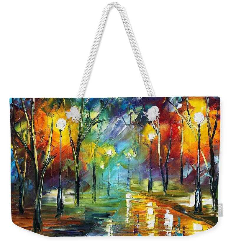 Afremov Weekender Tote Bag featuring the painting Nice Park by Leonid Afremov