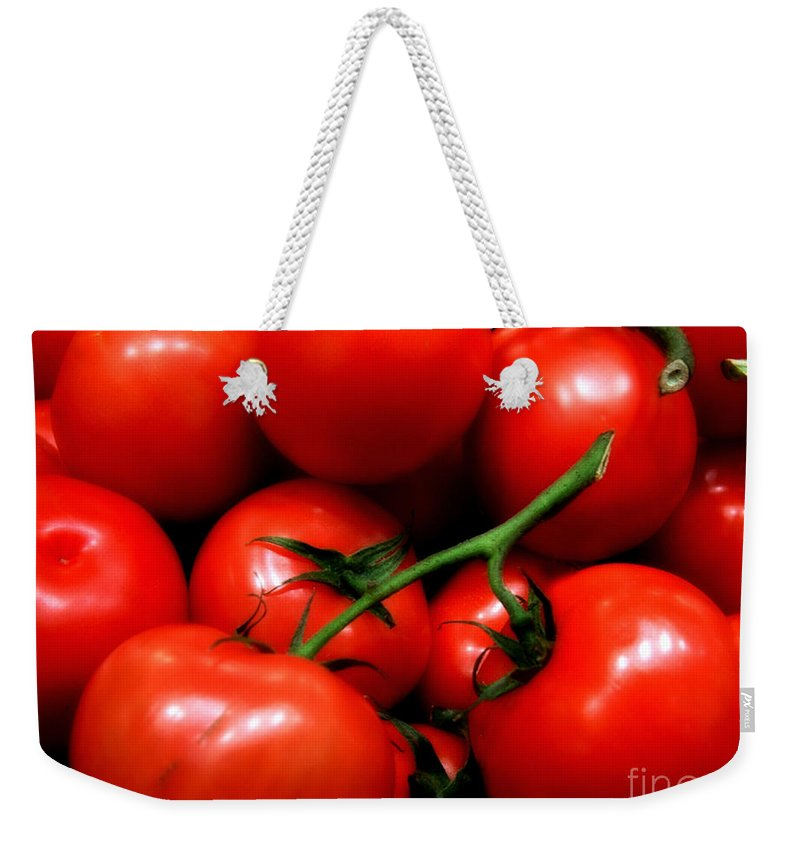Food Weekender Tote Bag featuring the photograph Nice Tomatoes Baby by RC DeWinter