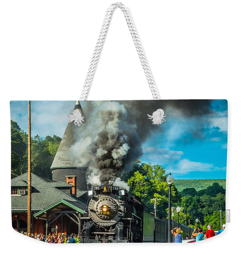 Nickle Plate Road Weekender Tote Bag featuring the photograph Nickle Plate Road 765 At Jim Thorpe by Michael Kissinger