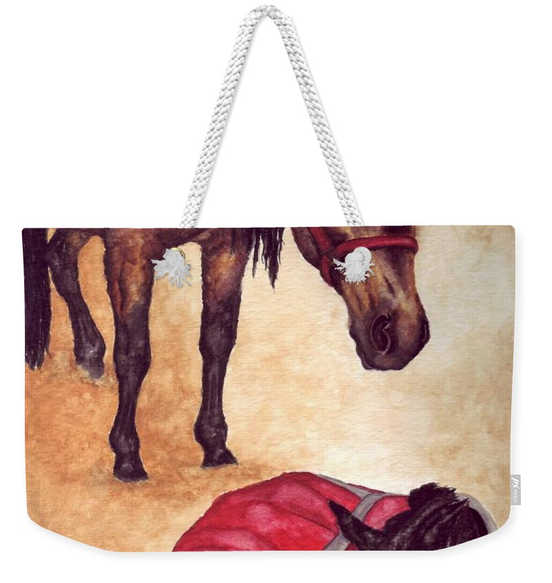 Horse Weekender Tote Bag featuring the painting Nifty And Hannah by Kristen Wesch