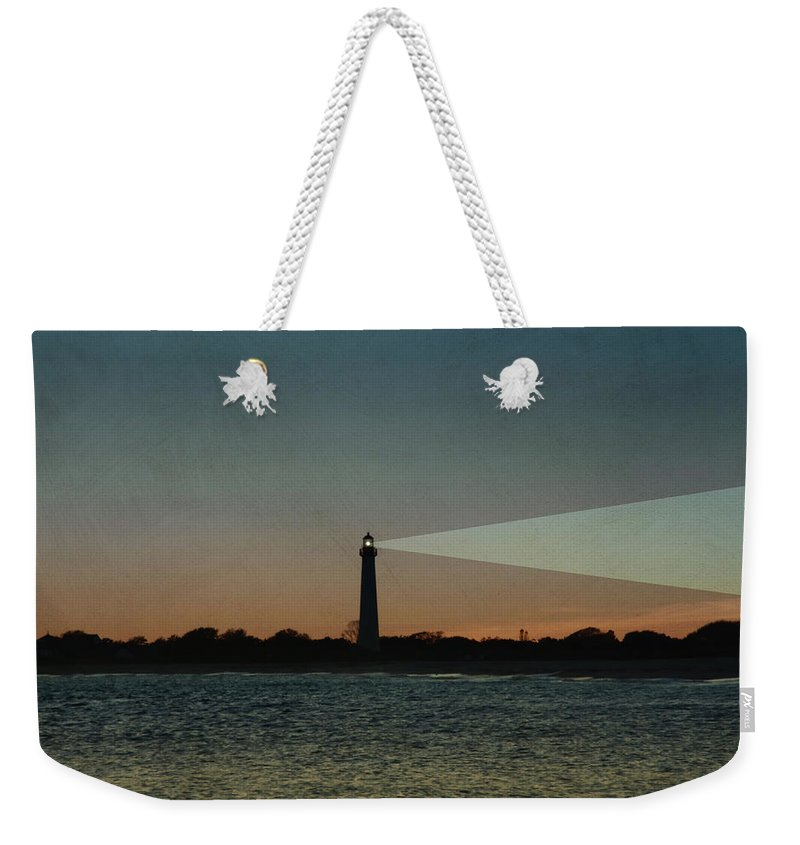 Night Weekender Tote Bag featuring the photograph Night At Cape May Lighthouse by Bill Cannon