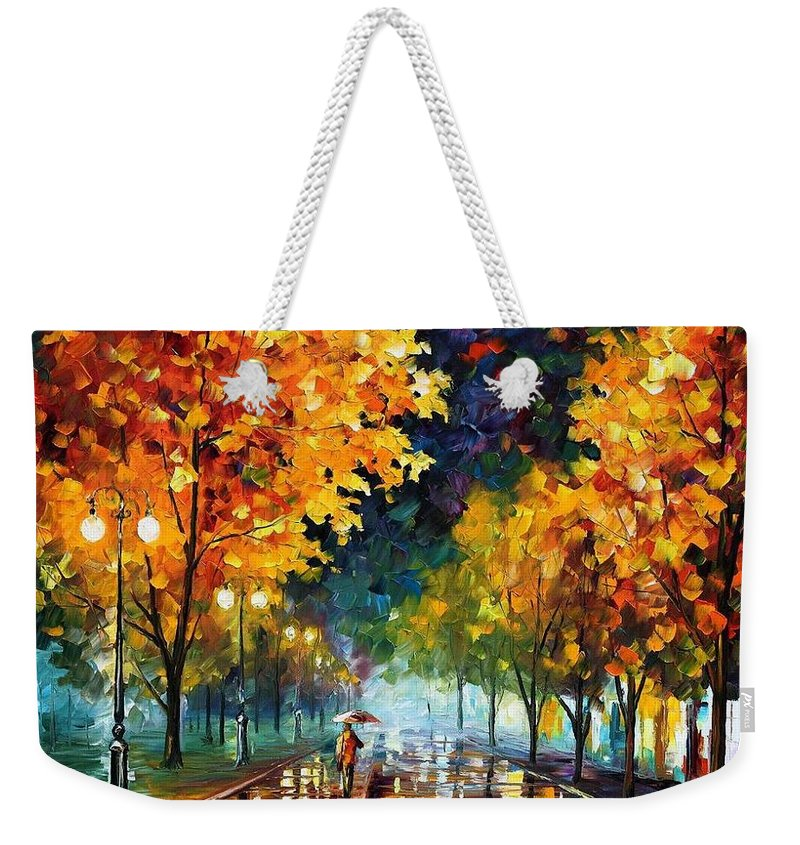 Afremov Weekender Tote Bag featuring the painting Night Autumn Park by Leonid Afremov