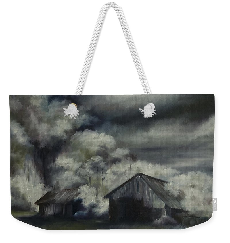 Motel; Route 66; Desert; Abandoned; Delapidated; Lost; Highway; Route 66; Road; Vacancy; Run-down; Building; Old Signage; Nastalgia; Vintage; James Christopher Hill; Jameshillgallery.com; Foliage; Sky; Realism; Oils; Barn Weekender Tote Bag featuring the painting Night Barn by James Christopher Hill