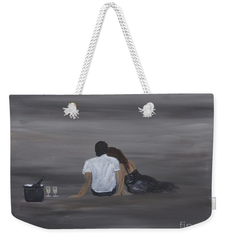Couple Weekender Tote Bag featuring the painting Night Cap by Leslie Allen