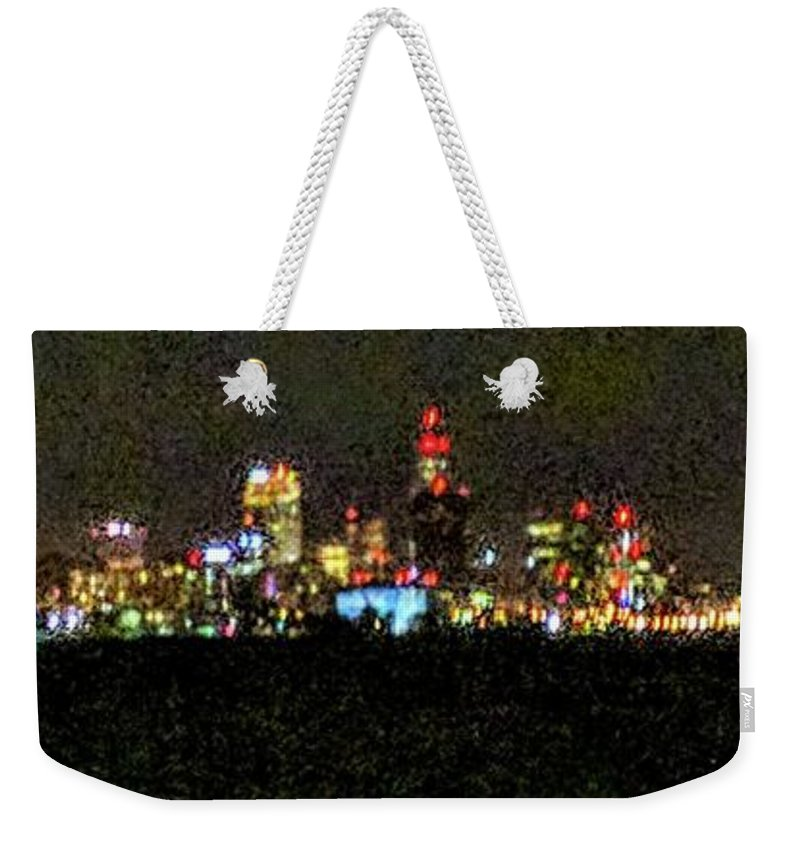 Skyline Weekender Tote Bag featuring the photograph Night Cleveland by George Noleff
