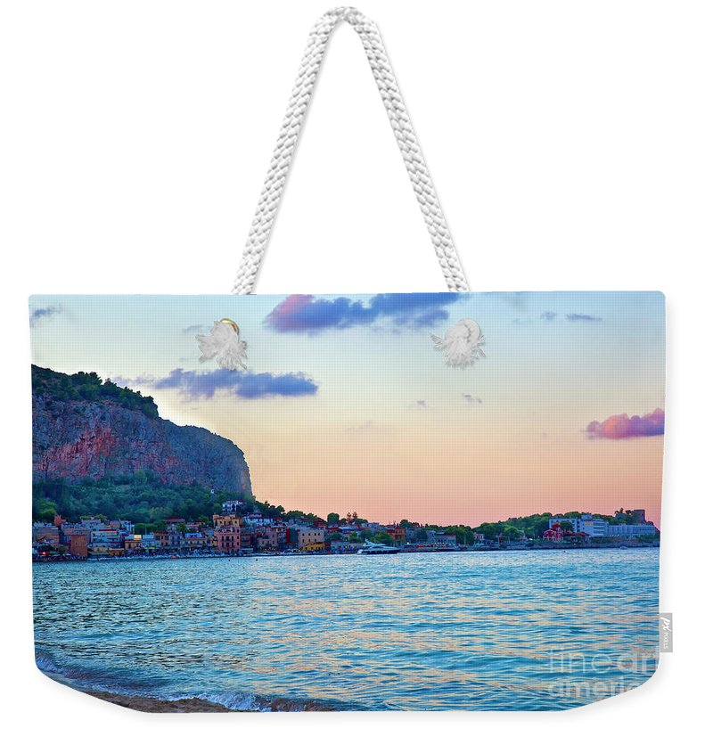 Sicily Weekender Tote Bag featuring the photograph Night Falling Over Sicily by Madeline Ellis