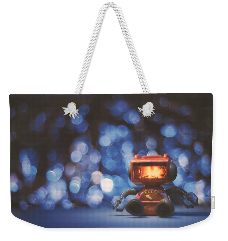 Scott Norris Photography Weekender Tote Bag featuring the photograph Night Falls On The Lonely Robot by Scott Norris