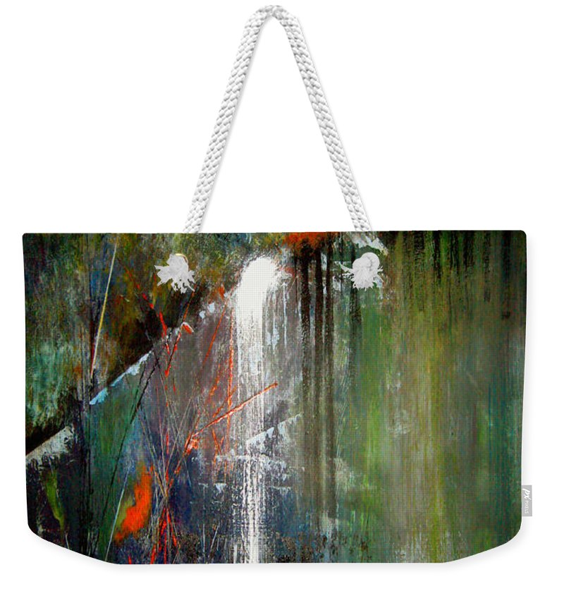 Abstract Weekender Tote Bag featuring the painting Night Falls by Ruth Palmer