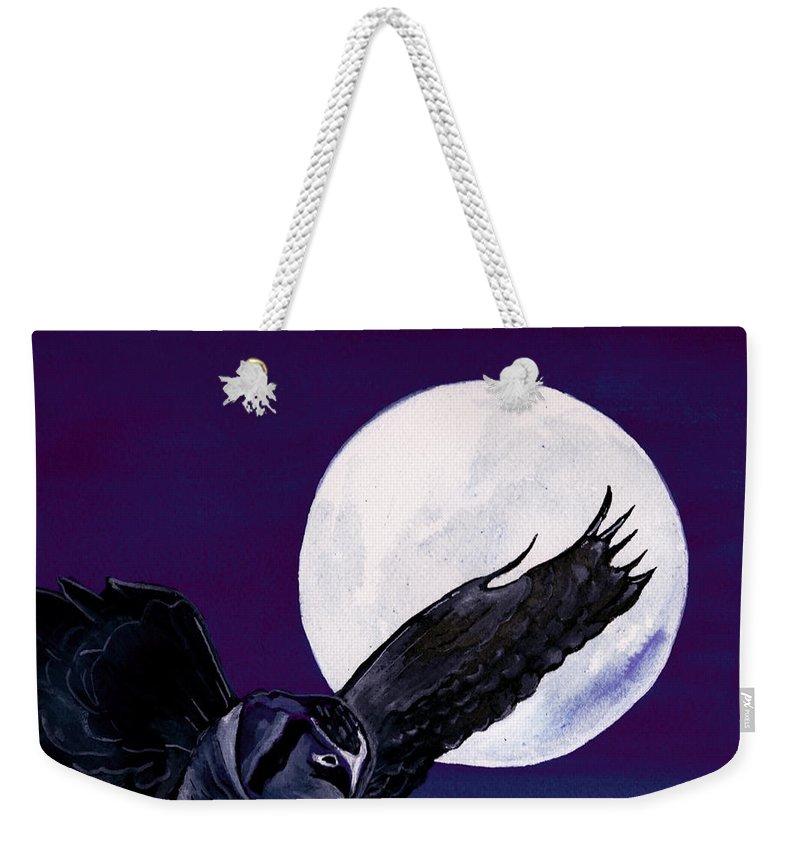 Landscape Weekender Tote Bag featuring the painting Night Flight by Brenda Owen