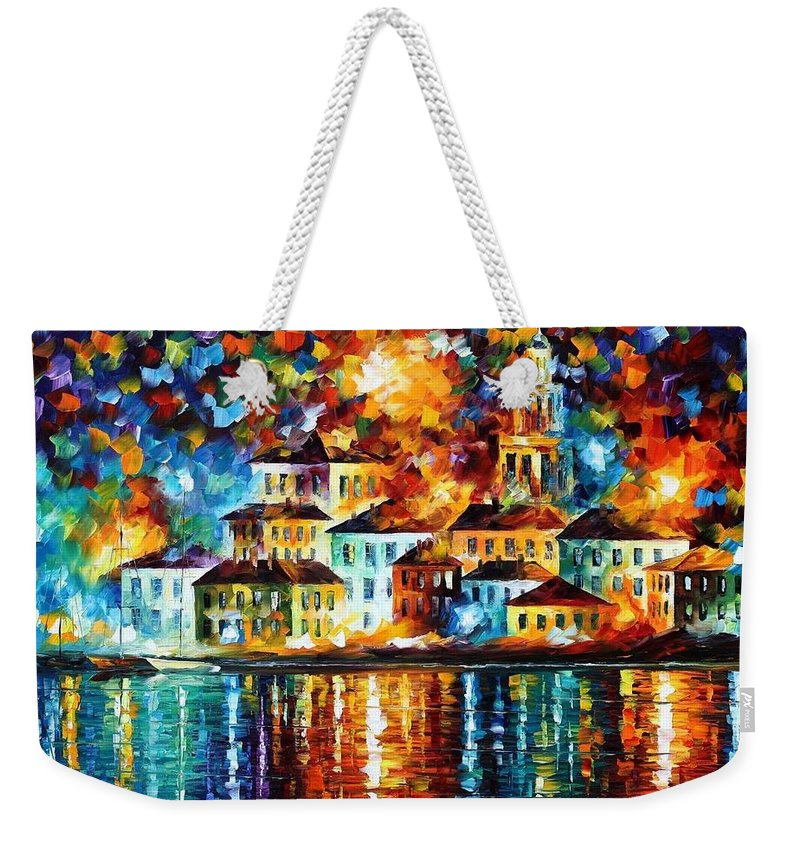 Afremov Weekender Tote Bag featuring the painting Night Harbor by Leonid Afremov