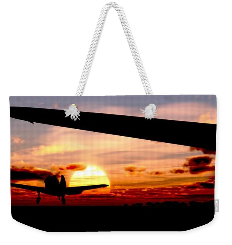 Aviation Weekender Tote Bag featuring the digital art Night Hawks by Richard Rizzo