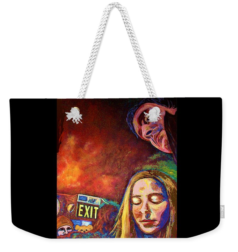 Girl Portrait Weekender Tote Bag featuring the painting Night In The City by Frances Gillotti