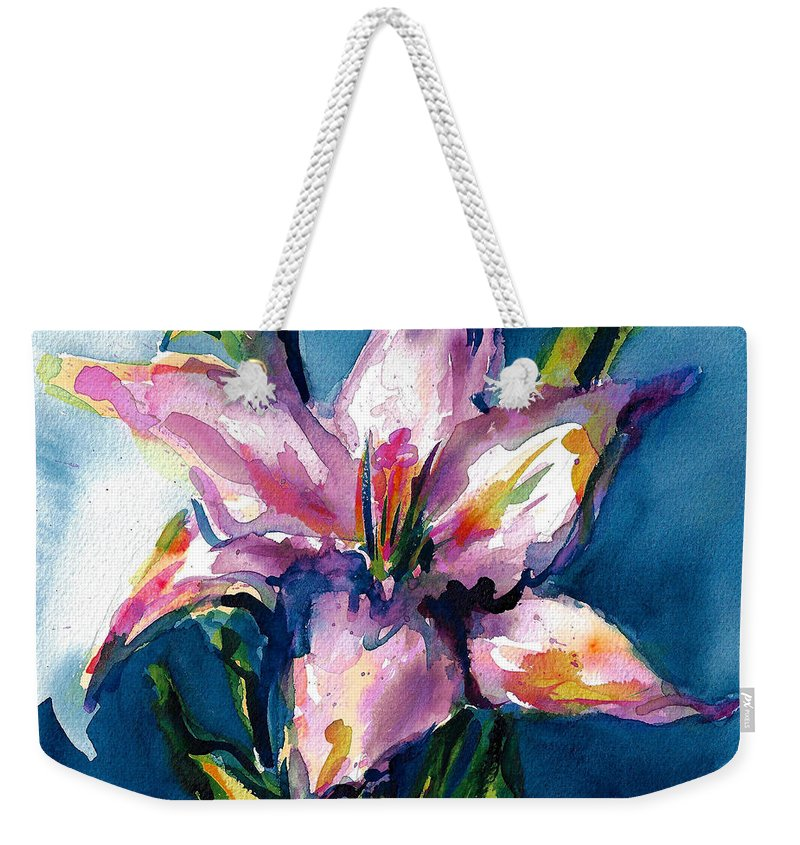 Pink Lily Weekender Tote Bag featuring the painting Night Lily by Jacki Kellum