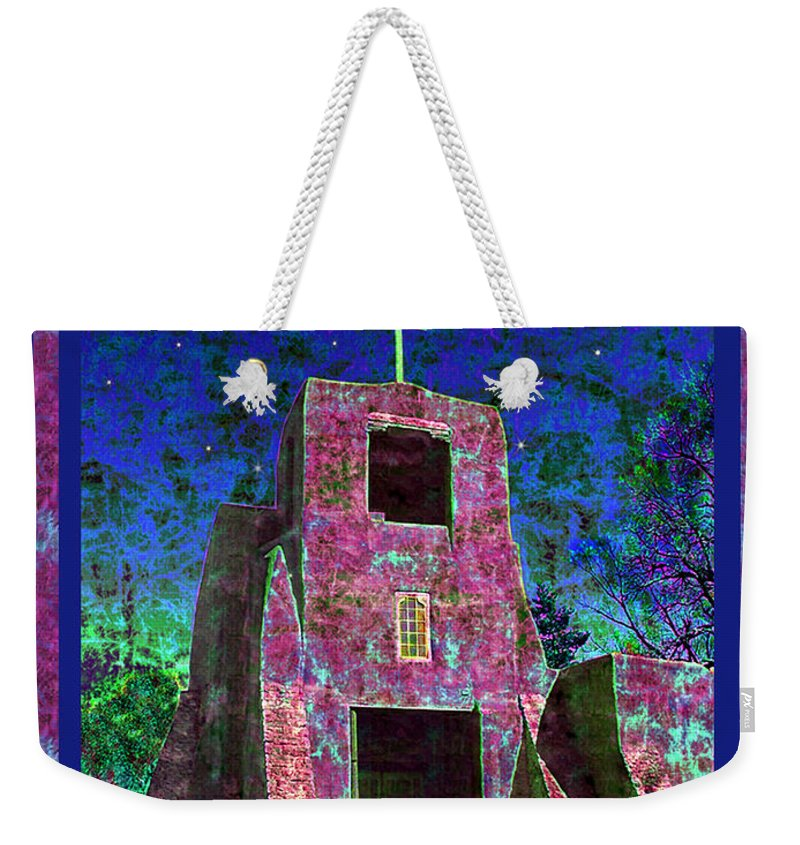 Mission Weekender Tote Bag featuring the photograph Night Magic San Miguel Mission by Kurt Van Wagner