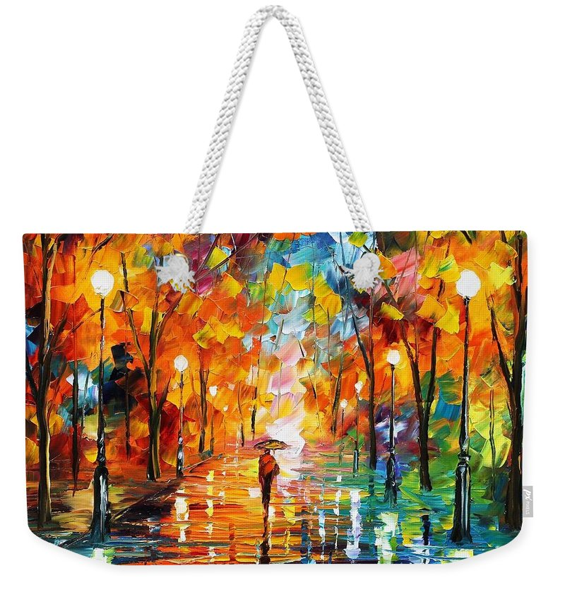 Afremov Weekender Tote Bag featuring the painting Night Mood In The Park by Leonid Afremov