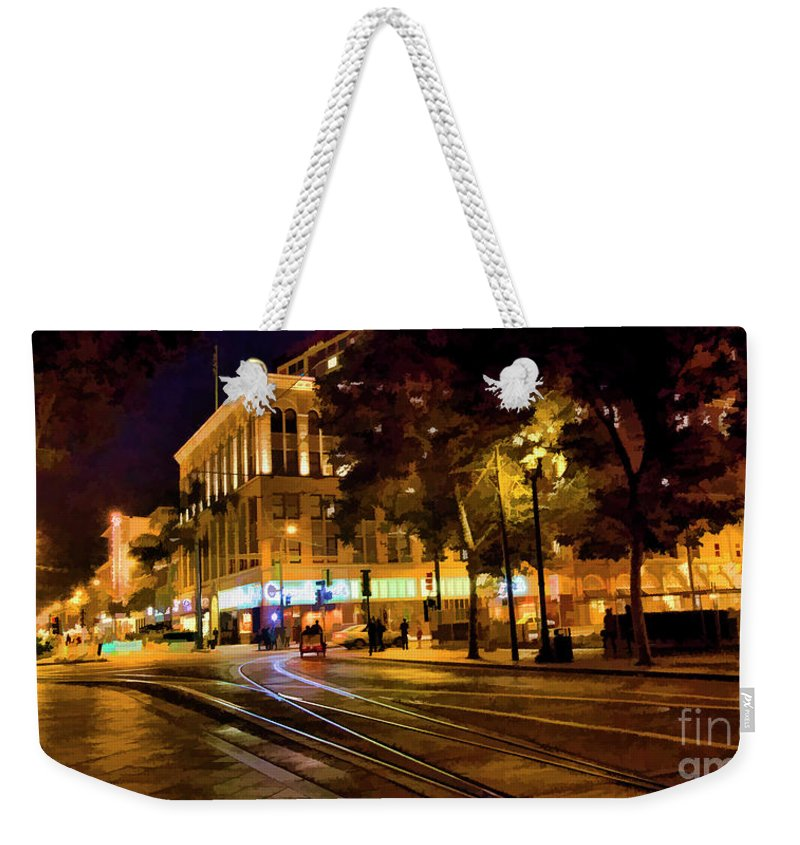 Architecture Weekender Tote Bag featuring the photograph Night Moods San Jose Ca by Chuck Kuhn