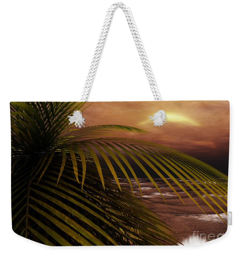 Tropical Weekender Tote Bag featuring the digital art Night Moves by Richard Rizzo