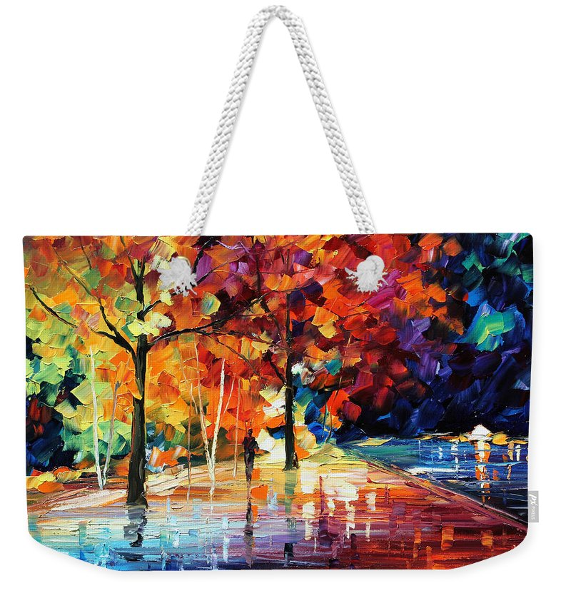 Afremov Weekender Tote Bag featuring the painting Night New Original by Leonid Afremov