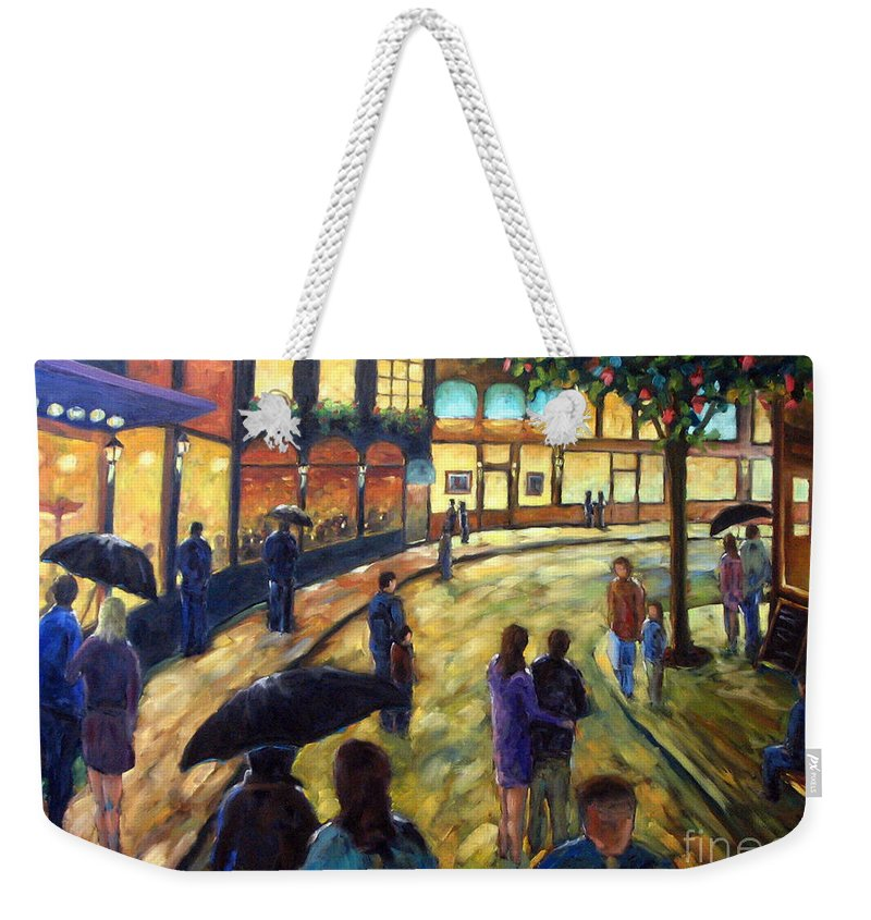 Cityscape Weekender Tote Bag featuring the painting Night On The Town by Richard T Pranke