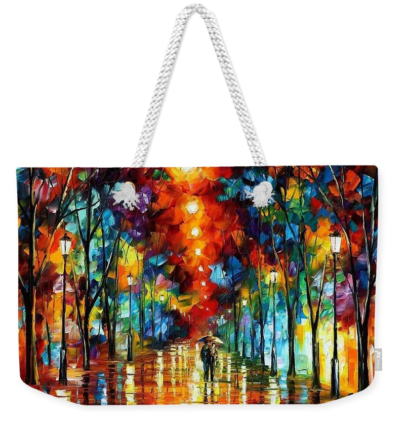 Afremov Weekender Tote Bag featuring the painting Night Park by Leonid Afremov