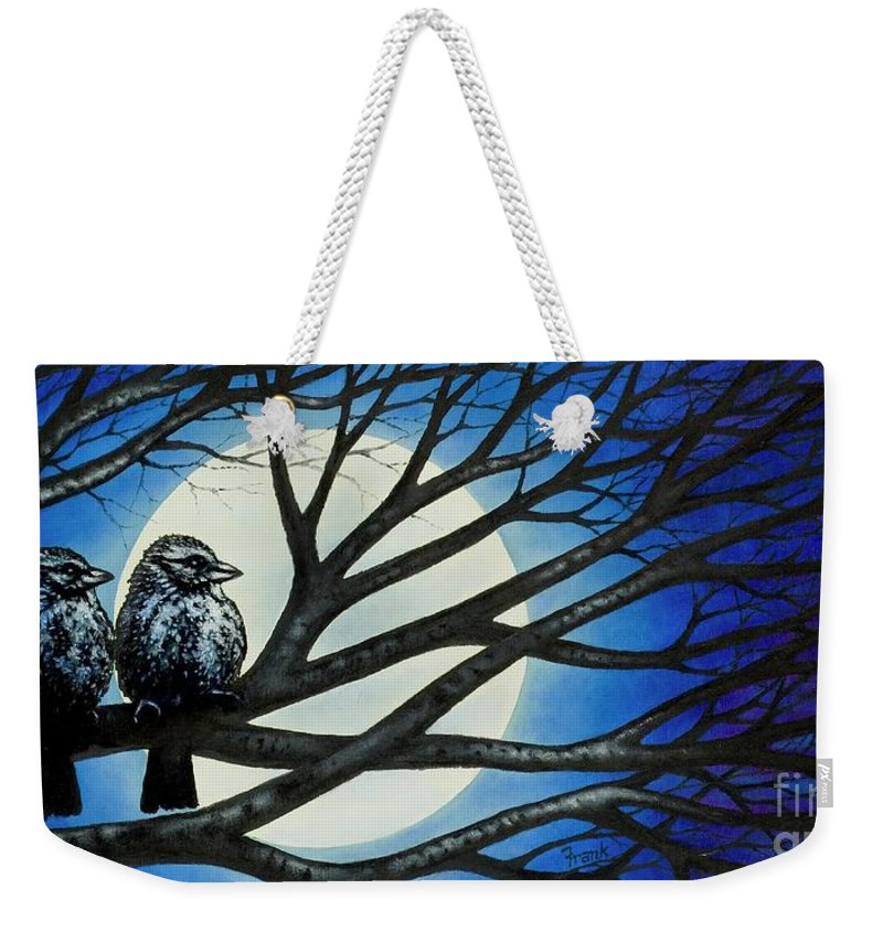 Full Moon Weekender Tote Bag featuring the painting Night Perch by Michael Frank