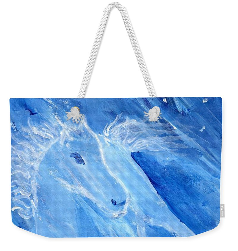 Pony Weekender Tote Bag featuring the painting Night Pony by Linda Bender