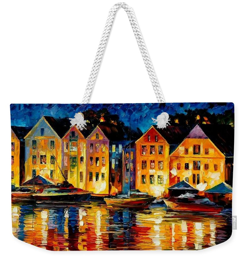 City Weekender Tote Bag featuring the painting Night Resting Original Oil Painting by Leonid Afremov