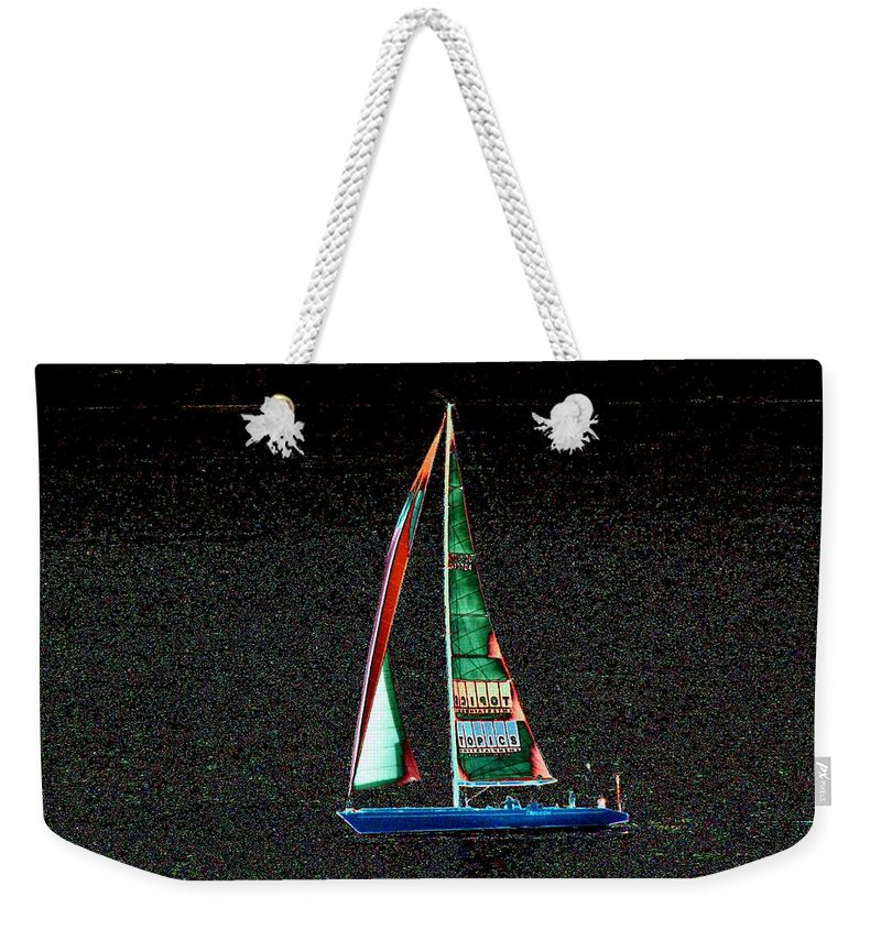 Seattle Weekender Tote Bag featuring the photograph Night Sail 2 by Tim Allen