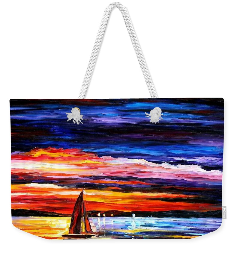 Seascape Weekender Tote Bag featuring the painting Night Sea by Leonid Afremov