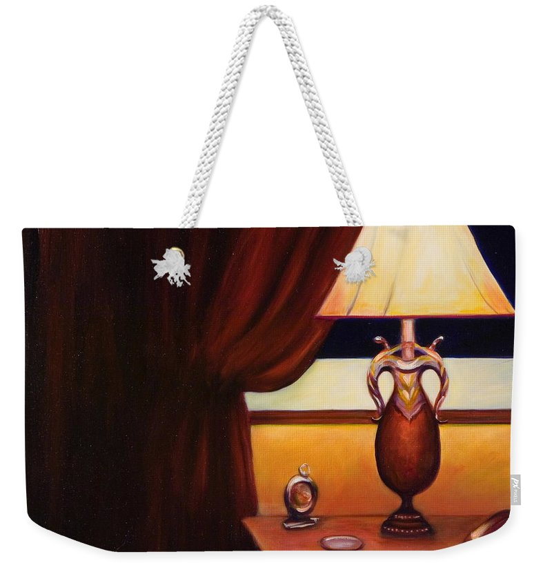 Still Life Red Weekender Tote Bag featuring the painting Night by Shannon Grissom