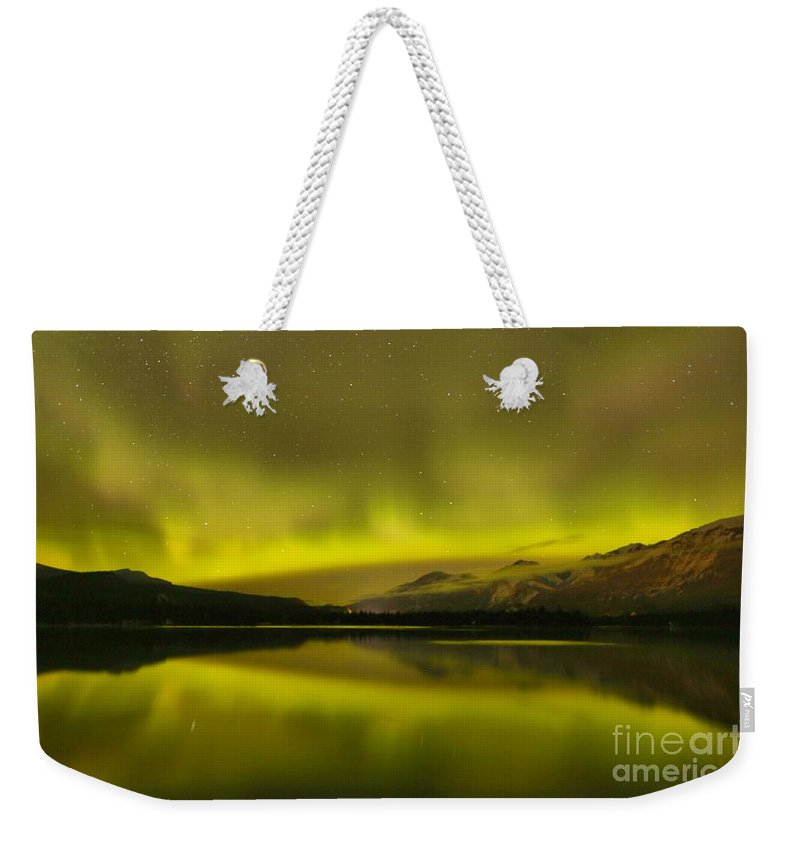 Northern Lights Weekender Tote Bag featuring the photograph Night Skies And Northern Lights by Adam Jewell