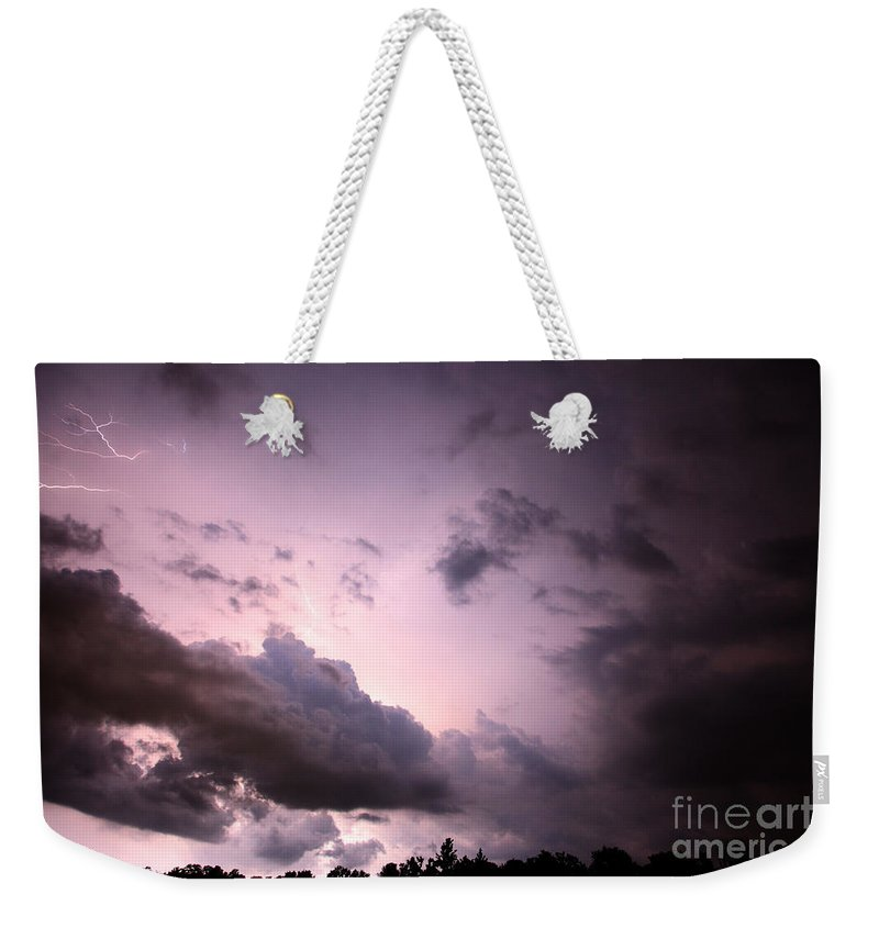 Lightning Weekender Tote Bag featuring the photograph Night Storm by Amanda Barcon