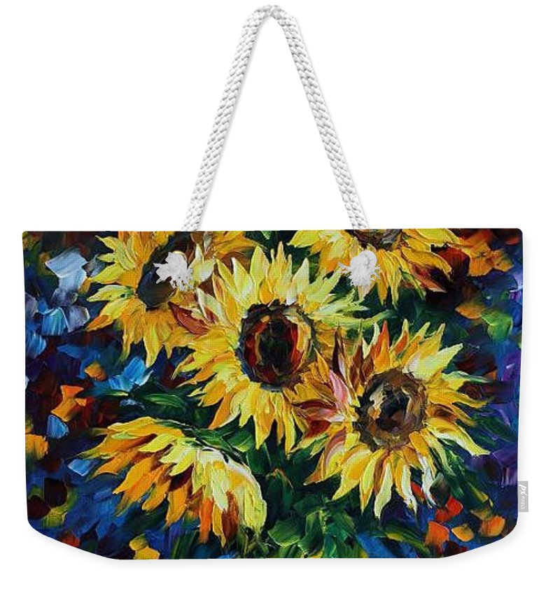 Afremov Weekender Tote Bag featuring the painting Night Sunflowers by Leonid Afremov