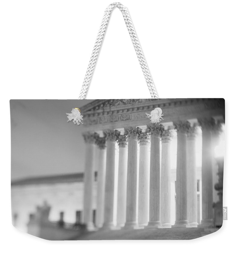 Photography Weekender Tote Bag featuring the photograph Night Us Supreme Court Washington Dc by Panoramic Images